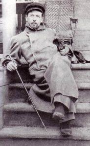 А. П. Чехов с одной из своих такс