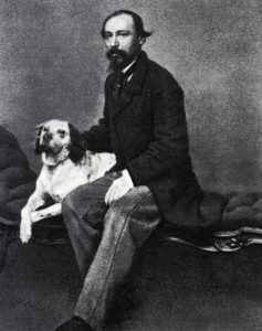 Н. А. Некрасов со своей охотничьей собакой. 1860-е гг.