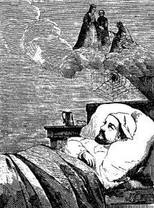 """Иллюстрация к сказке Г. Х. Андерсена """"Ночной колпак старого холостяка"""" из книги """"Собрание сказок Андерсена"""" 1909 года издания"""