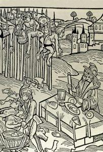 Пирующий Дракула. Старинная немецкая гравюра