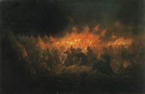 «Битва с факелами». Картина Теодора Амана о ночной атаке Влада на Мехмеда II