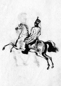 Скачущий гусар в кивере. Рисунок пером Лермонтова, 1832 г.