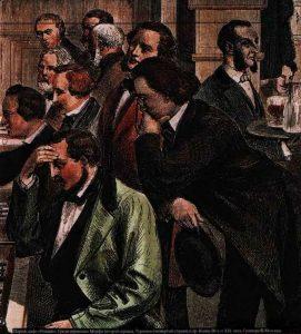 Шахматисты в парижском кафе «Режанс». Вдали 4-й справа – Иван Тургенев. Гравюра, 1873 г. Фрагмент