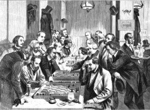 Шахматисты в парижском кафе «Режанс». 4-й справа – Тургенев