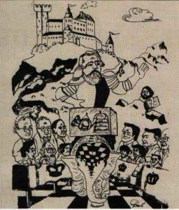 Дружеский шарж из статьи Р. Эрмантраута, посвященной 100-летию со дня кончины И.С. Тургенева