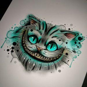 Эскиз тату Чеширский кот
