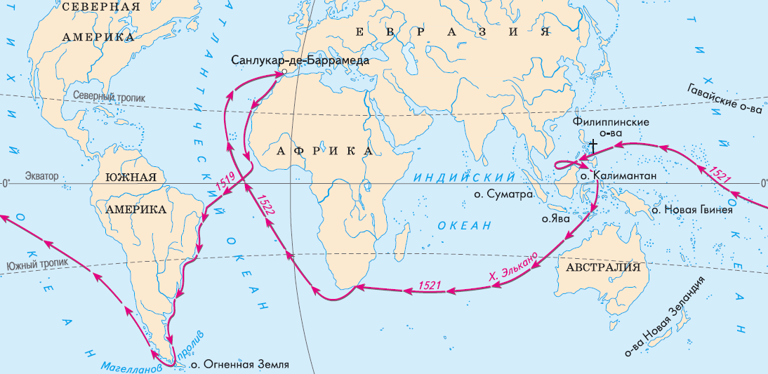 Схема маршрута кругосветного плавания экспедиции Ф. Магеллана